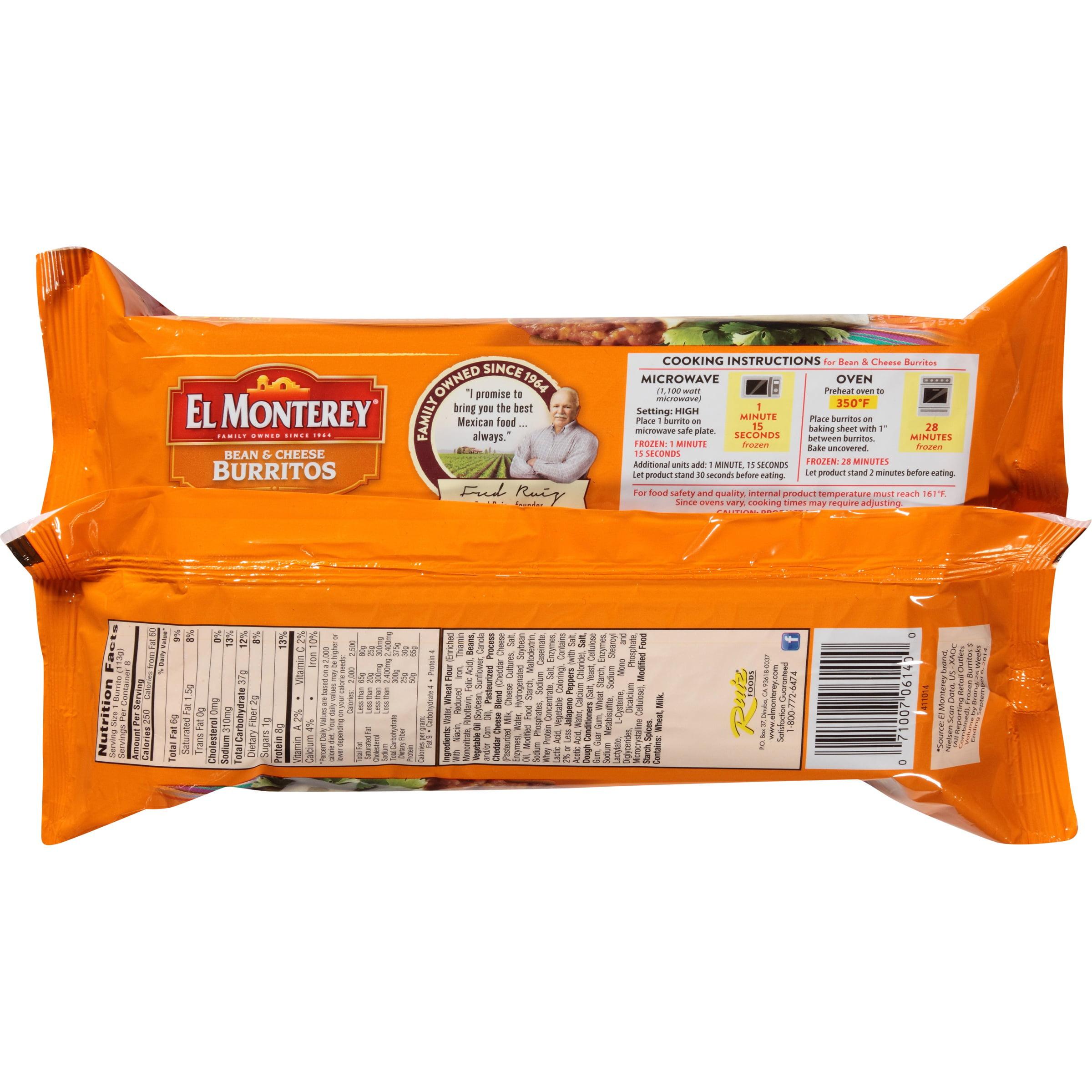 El Monterey® Bean U0026 Cheese Burritos 8 Ct Bag   Walmart.com