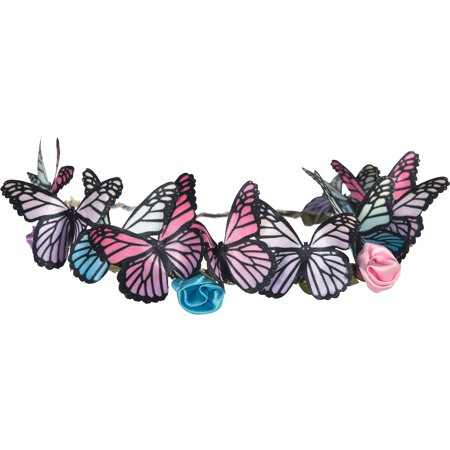 Suit Yourself Butterfly Headwreath for Adults, Measures 7 1/2 Inches, Fabric and Wire Accessory Features Flowers
