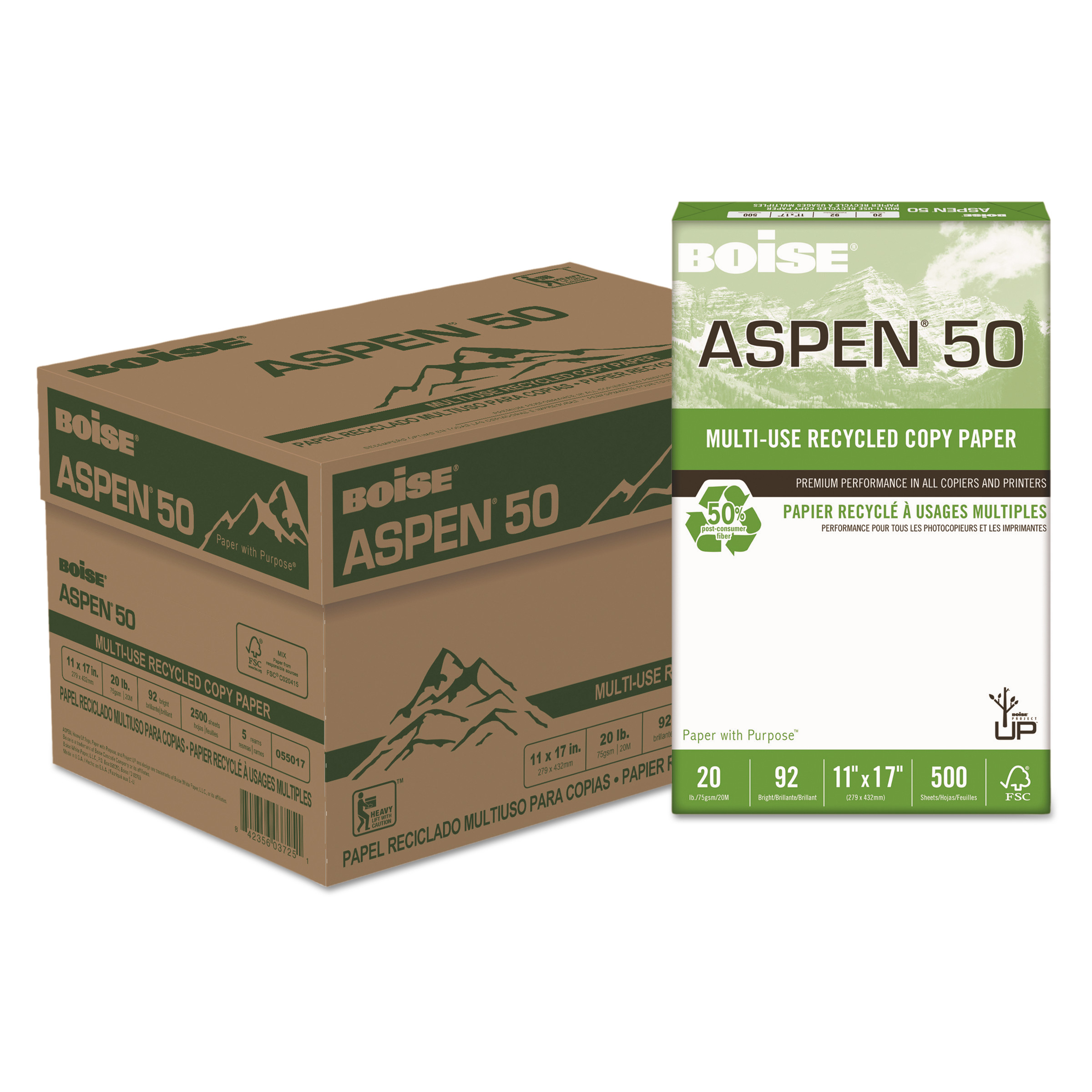 Boise ASPEN 50% Multi-Use Recycled Paper, 20 lb, 11 x 17, White, 5 Reams/Carton