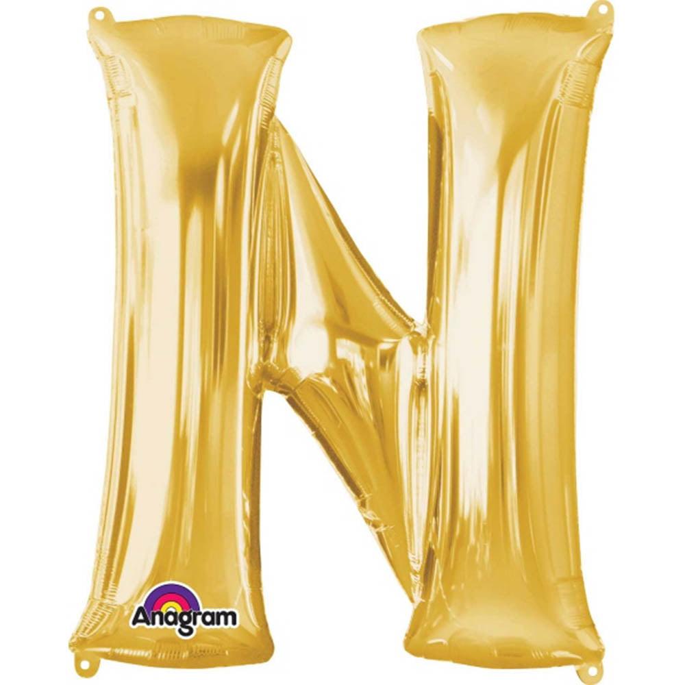 """Giant Gold Letter N Foil Balloon 32"""""""