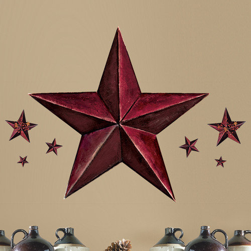 Room Mates Peel and Stick Giant 18 Piece Barn Star Wall Decal