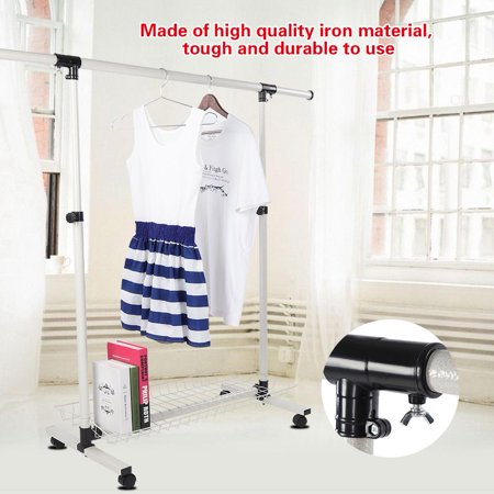 Collapsible Garment Rack (Knifun Adjustable Collapsible Rolling Single Rail Garment Clothes Coat Rack Dryer Hanger ,Clothes Rack, Clothes Dryer)