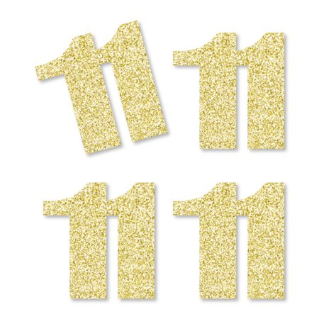 Gold Glitter 11 - No-Mess Real Gold Glitter Cut-Out Numbers - 11th Birthday Party Confetti - Set of 25