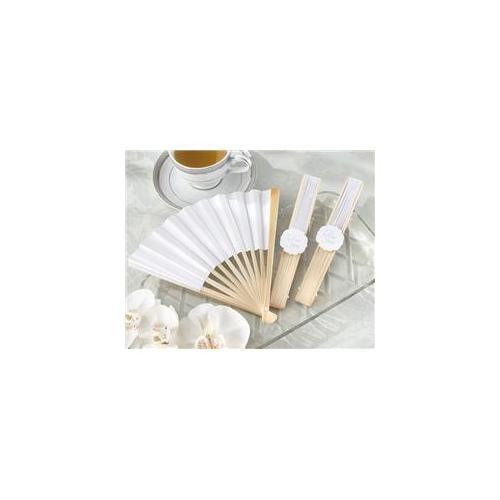 Kate Aspen 28138NA Elegant White Personalizable Paper Fan - Set of 12 - Pack of 8