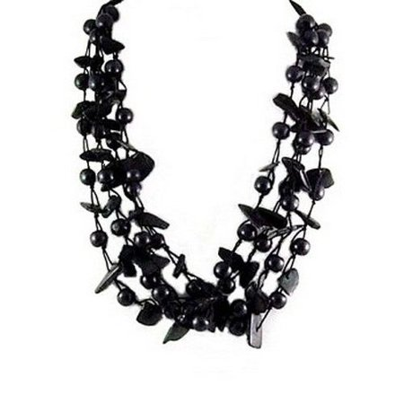 Fashion Jewelry Coco Beads - 841-015 Fashion 23 Inch Black Coco And Wood Bead 4 Strands Necklace