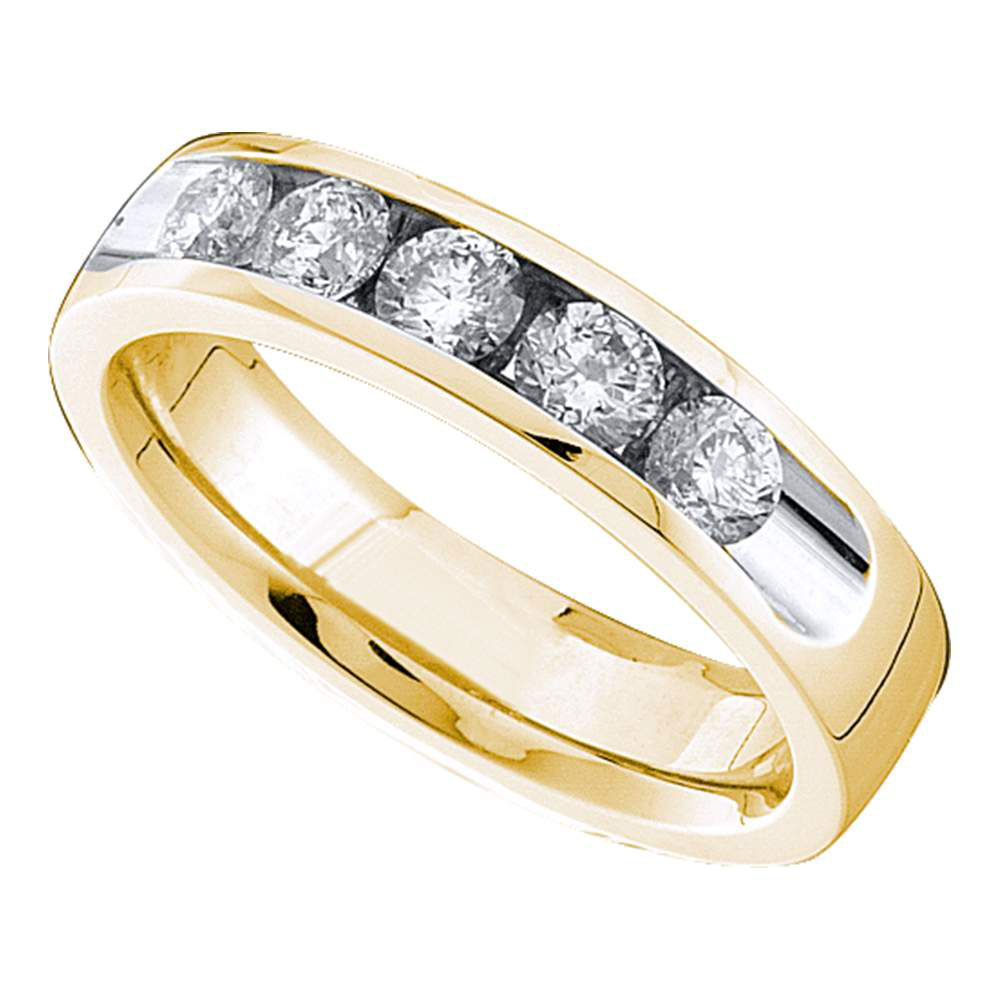 14kt Yellow Gold Womens Round Channel-set Diamond Single Row Wedding Band 3 4 by GND