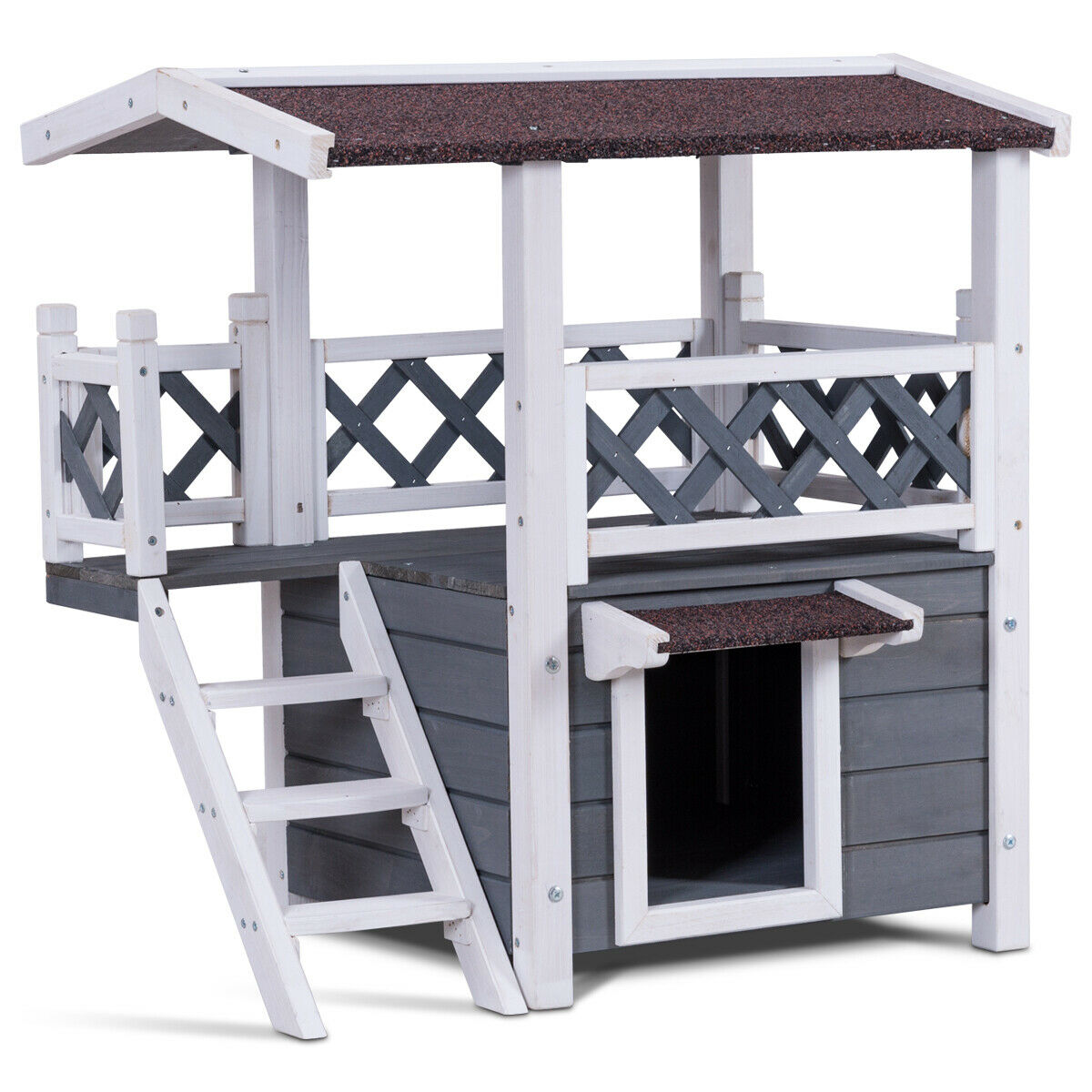 Gymax 2-Story Outdoor Weatherproof Wooden Cat House Condo Shelter with Ladder