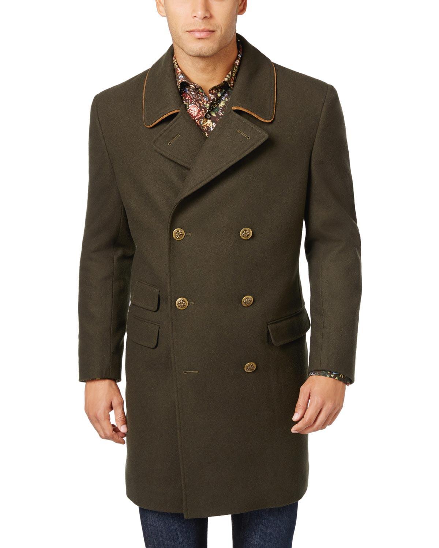 Tallia Orange Label Mens Wool Blend Peacoat Overcoat Olive Green Small S by TALLIA