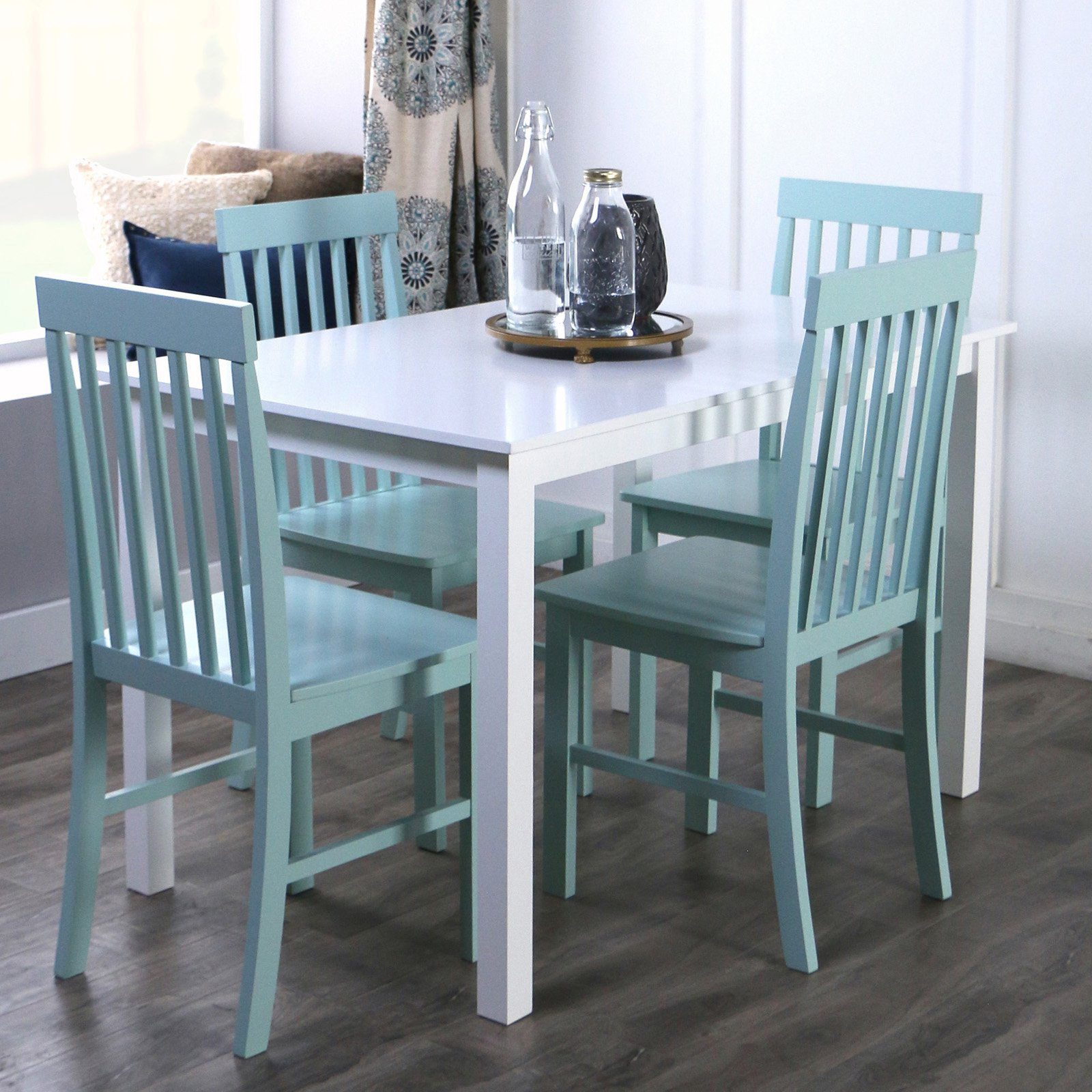 Walker Edison 5-Piece Modern White Wood Kitchen Dining Set - Sage ...