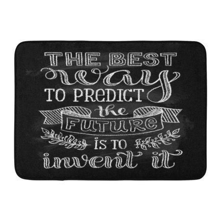 GODPOK Black Hand Inscription The Best Way to Predict Future is Invent It Calligraphic and Typographic on Chalk Rug Doormat Bath Mat 23.6x15.7 (Best Bath Mats For Elderly)