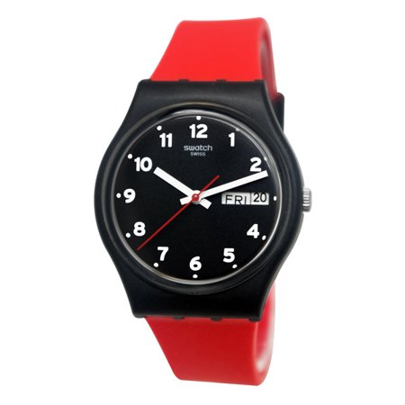 Swatch GB754 Red Grin Black Day Date Silicone Watch - Watch 13 Days Of Halloween Online