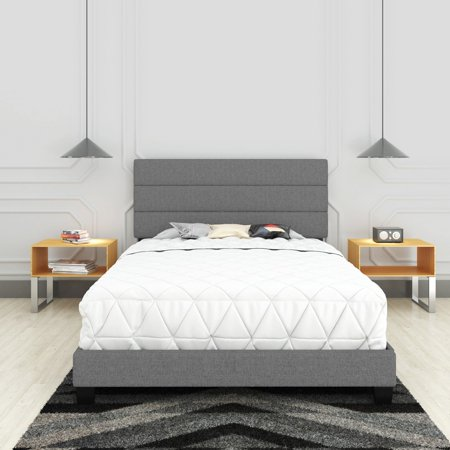 Premier Syracuse Upholstered Linen Tri Panel Platform Bed Frame with Headboard, Queen, Gray, Foundation or Box Spring NOT Required