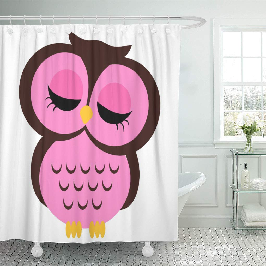 YUSDECOR Birds Cute Pink Owl Girly Kawaii Girl Kids Bathroom Decor Bath  Shower Curtain 12x12 inch