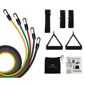 Black Mountain Products Rubber Resistance Band Set With Door Anchor Ankle Strap Exercise Chart And Resistance Band Carrying Case Walmart Com Walmart Com