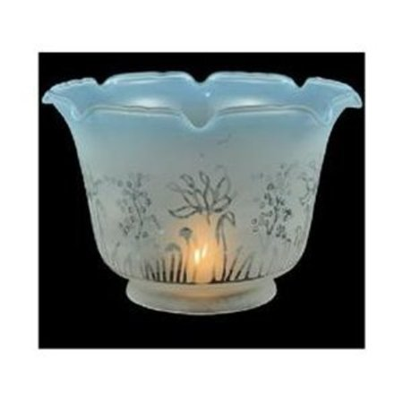 Etched Water Glass Shades - Ruffle Frost and Blue Etched Replacement Shade