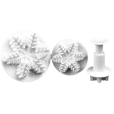 3pcs Food Grade Plastic Cake Mould DIY Snowflake Shape Baking Tool Fondant Molds Embossing Die - White Fondant Halloween Cake