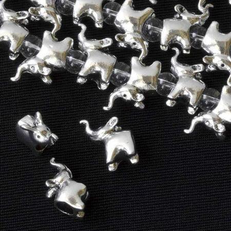 Cherry Blossom Beads 8 inch strand Silver Pewter 13x15mm Large Hole Elephant - Elephant Beads