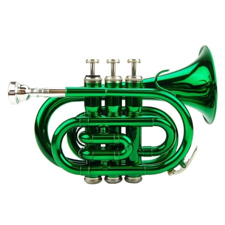 Merano B Flat Green Pocket Trumpet - Green Flats