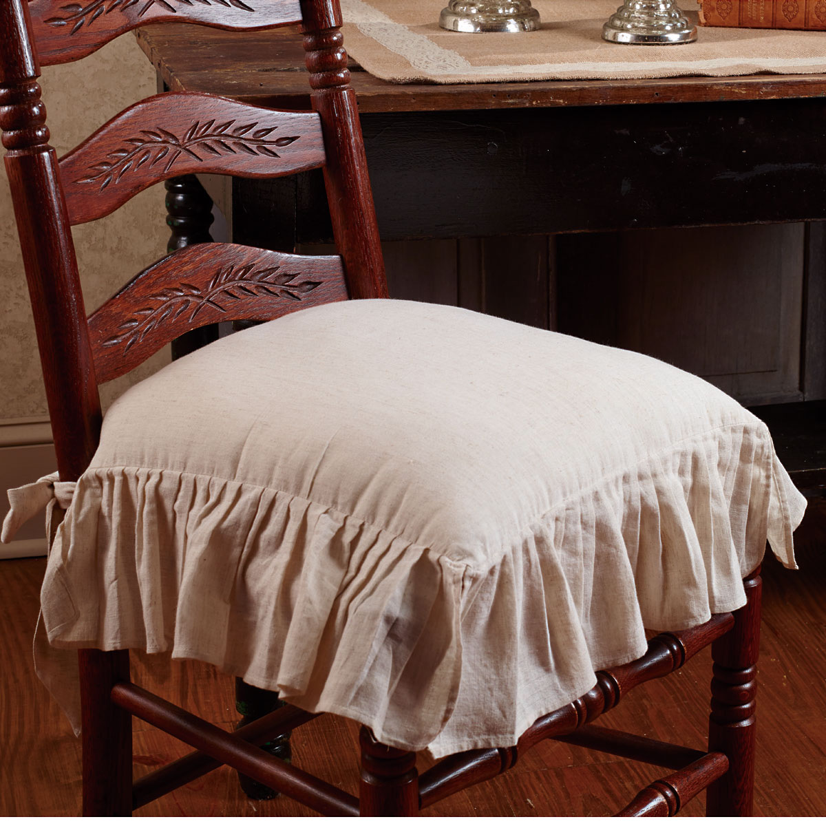 Flax Ruffled French Country Chair Pad by The Country House Collection