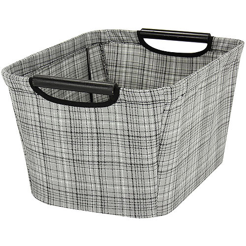 Household Essentials Small Tapered Storage Bin with Wood Handles, Grey Plaid