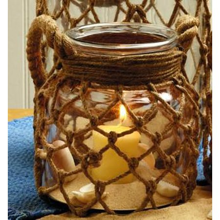 Small Jute Net-Wrapped Glass Jar With Handle - for Florals, Candle, Shelf Decor, Kitchen Flowers