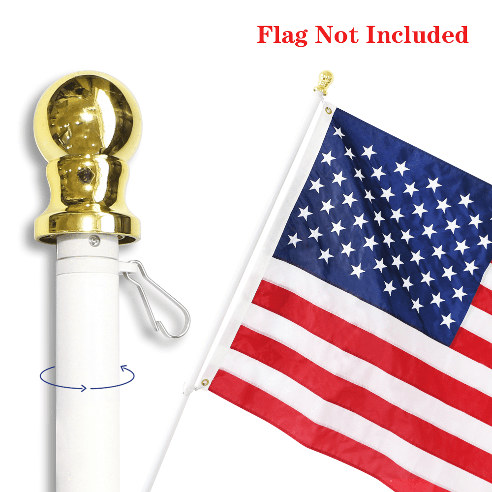 6 Ft Spinning Tangle Free Pole Cold Water White Blue 3 x 5 FT Flag Bracket