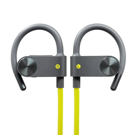 Photive BT55G Sport Bluetooth Headphones, Wireless Earbuds for Running, Gym, Workout. In-Ear Sweatproof Secure-Fit Earphones with built-in Mic and Remote in (Behind The Neck Sport Headphones)
