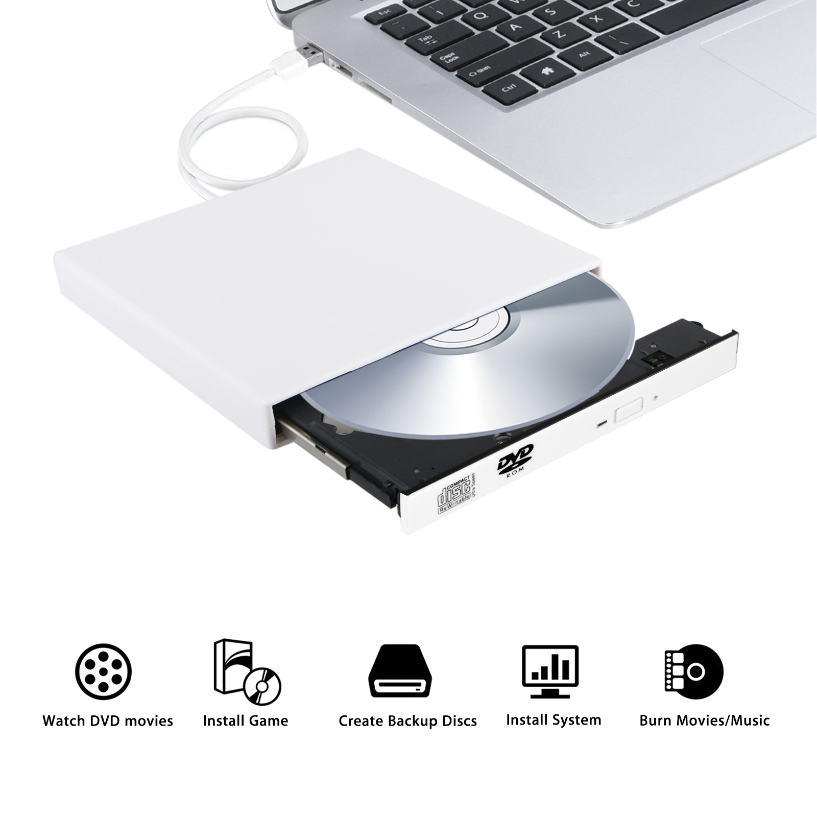TSV USB 2.0 External DVD ROM Combo CD-RW CD-ROM Burner Drive with Two Cables for PC Laptop
