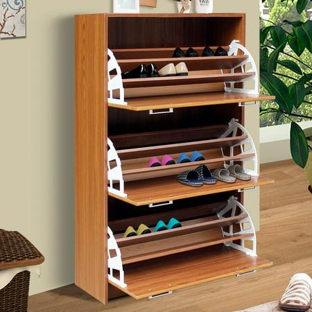 4d concepts deluxe triple shoe cabinet oak - Shoe cabinet for small spaces concept ...
