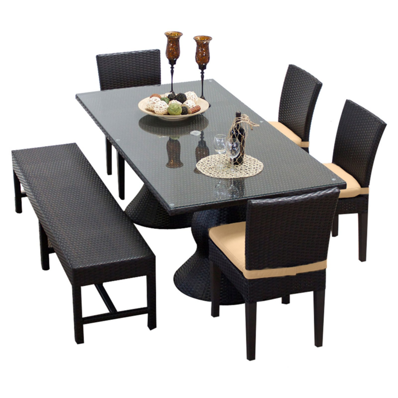 TK Classics Napa Wicker 6 Piece Rectangular Patio Dining Set with Dinning Chair and 8 Cushion Covers