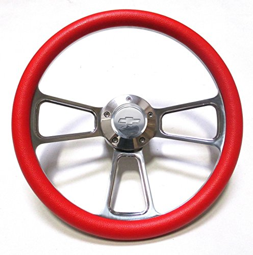 "Red Steering Wheel 14"" Billet Muscle Style Wheel with Chevy Bowtie Horn Button"