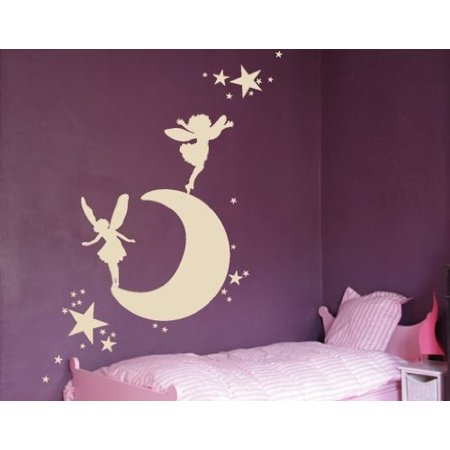 Moon with Elves and Fairies Wall Decal - Wall Sticker, Vinyl Wall Art, Home Decor, Wall Mural - 1343 - 59in x 33in, Sage - Fairy Stickers