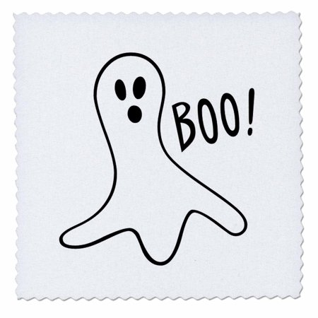 3dRose Halloween Boo Ghost - Quilt Square, 10 by 10-inch - Halloween Quilt