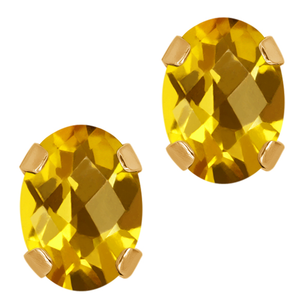 1.40 Ct Checkerboard Yellow Citrine 14K Yellow Gold 4-prong Stud Earrings 7x5mm