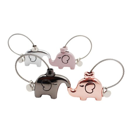 Micelec Lovely Cartoon Elephant Animal Keychain Steel Wire Key Chain Keyring Couple Gift