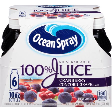 Ocean Spray 100  Juice  Cranberry Concord Grape  10 Fl Oz  6 Count