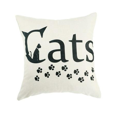 Unique BargainsCotton Linen Cat Paw Letter Pattern Back Pillow Cushion Cover 18 x 18 Inches