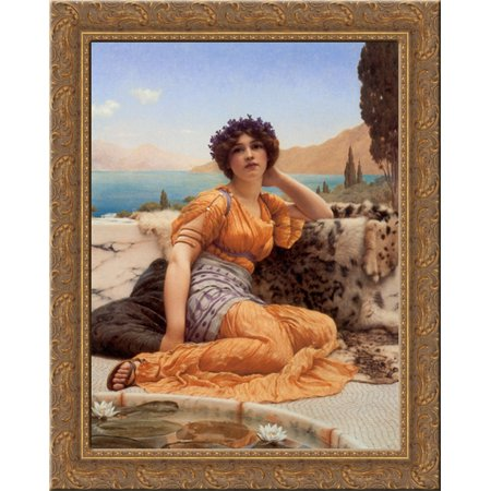 'With Violets Wreathed and Robe of Saffron Hue' 20x24 Gold Ornate Wood Framed Canvas Art by Godward, John William