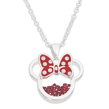 Minnie Mouse July Birthstone Silver Plated Shaker Pendant Necklace, 18+2