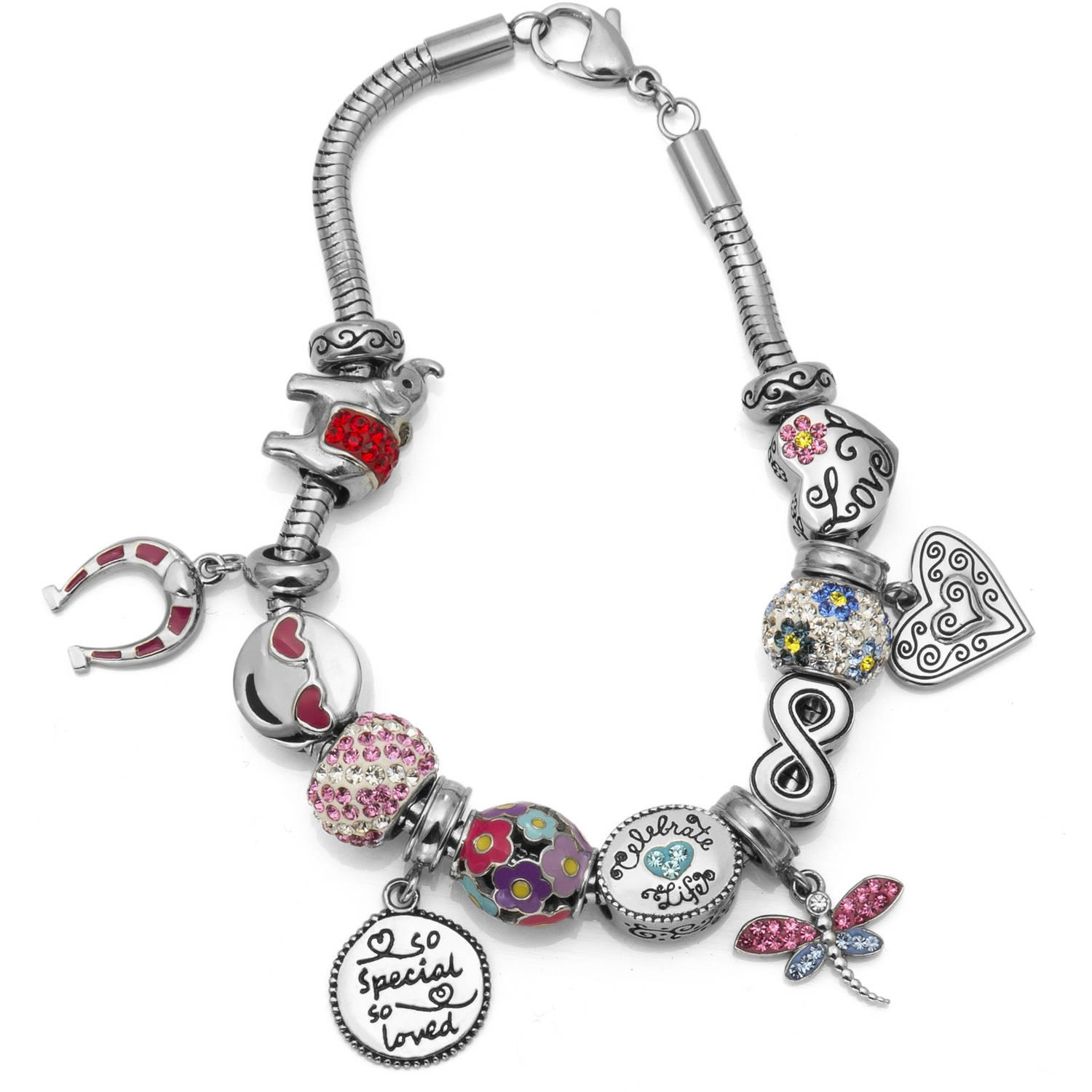 "Connections from Hallmark Crystal Stainless Steel ""So Special So Loved"" Charm Bracelet Set"