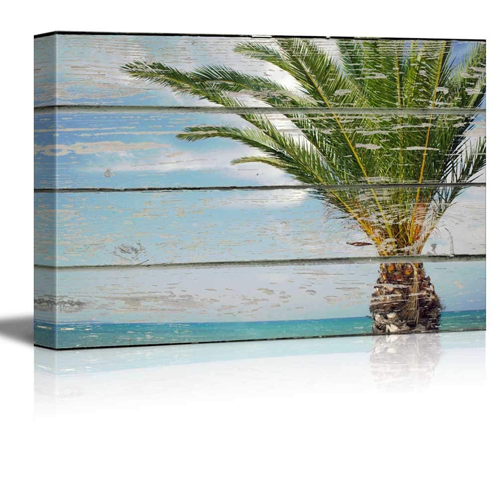 Wall26 Canvas Wall Art Palm Tree By The Beach On Vintage