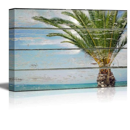 Wall26 Canvas Wall Art Palm Tree By The Beach On Vintage Wood Textured Background Rustic Country Style Modern Giclee Print Gallery Wrap Home Decor