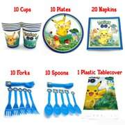 Birthday Party Favor Supplies Pack For 10 Pokemon Guests With Plates, Beverage Napkins, Tablecover, Cups, Forks and Spoons