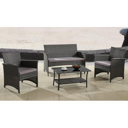 4 Piece Rattan Patio Furniture Set