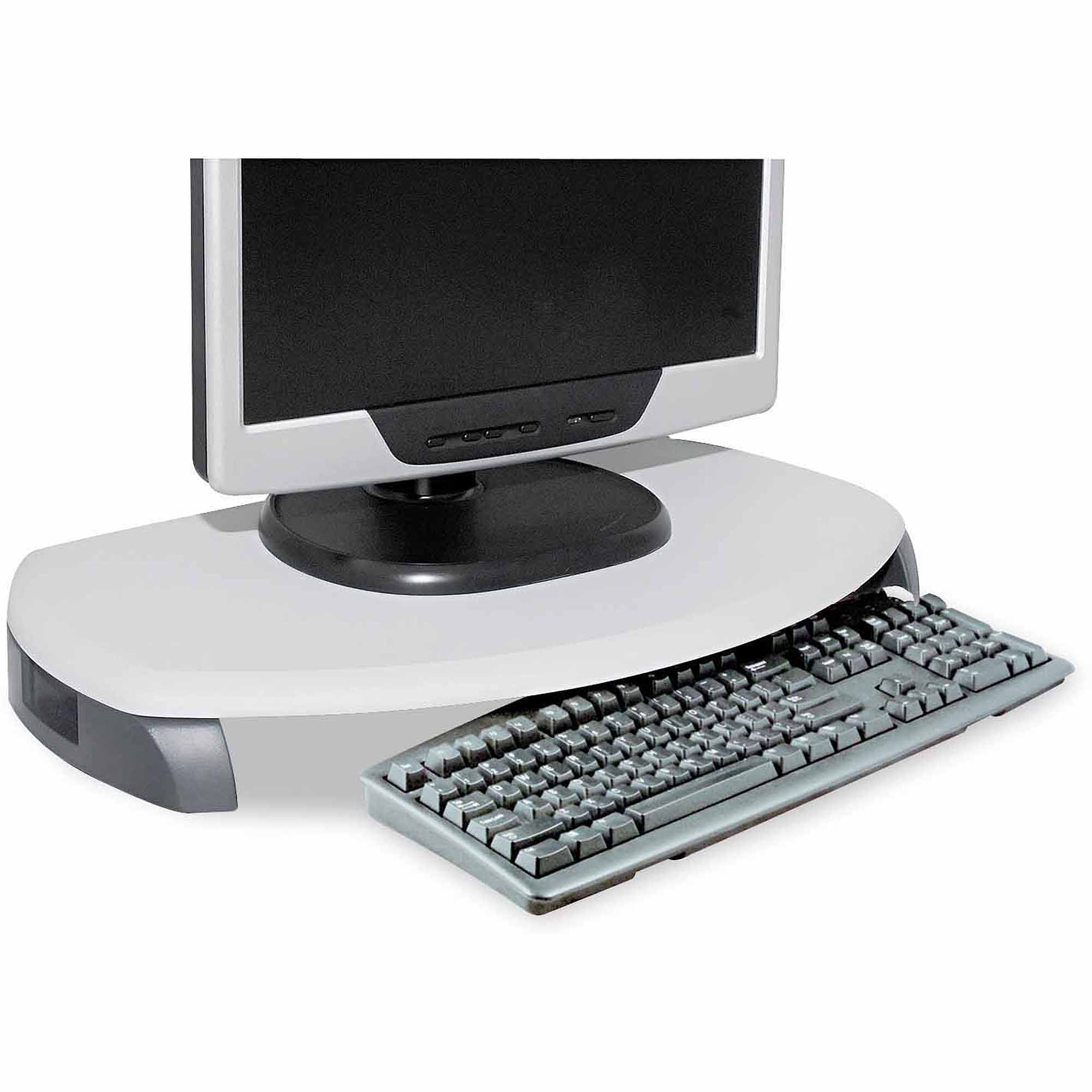 "Kantek CRT/LCD Stand with Keyboard Storage, 23"" x 13.25"" x 3"", Grey"