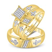10kt YG His & Her Genuine Diamond Cross Bridal Wedding Ring Band Trio Set 1/12CT