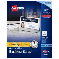 "Avery Clean Edge Business Cards, Two-Side Printable, Glossy/Matte Back, 2"" x 3-1/2"", 200 Cards (8859)"