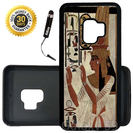 Custom Galaxy S9 Case (Egyptian Pharaoh Goddess) Edge-to-Edge Rubber Black Cover Ultra Slim | Lightweight | Includes Stylus Pen by Innosub](Black Pharaohs)