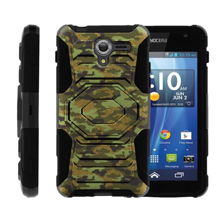 Case for Kyocera Hydro View | Case for Hydro Reach [ Armor Reloaded ] Heavy Duty Rugged Case with Built In Kicsktand + Belt Clip - Green Digital Camo
