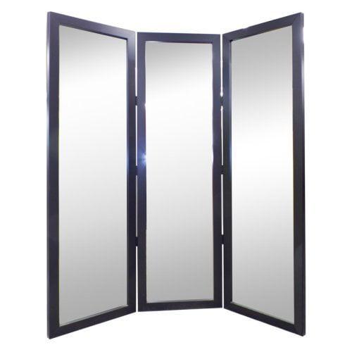 True Satin Black Full Length Free Standing Tri-Fold Mirror - 72W x 72H in.